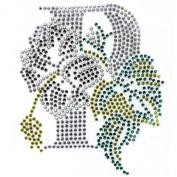 Rhinestone Transfer Hot Fix Motif Fashion Design Jewellery Cushion P Flower Deco 3 Sheets 3.3*9.9cm
