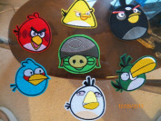 7 Lot Set of Angry Birds Iron on Hat Jacket Hoodie Patches Crests Large Size