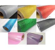 48cm x 2Yards Glitter Heat Transfer Vinyl From 8 colours For T-shirt Transfer Print