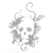 Rhinestone Iron on Transfer Hot Fix Motif Crystal Fashion Design Skull Silver 3 Sheets 7.4*26cm