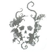 Rhinestone Iron on Transfer Hot Fix Motif Crystal Fashion Design Skull Black 3 Sheets 7.4*26cm