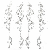 Rhinestone Transfer Hot Fix Motif Fashion Design Decorations Flower Tattoo Line 3 Sheets 11.8*31cm
