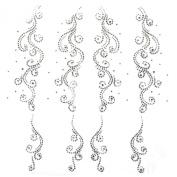 Rhinestone Transfer Hot Fix Motif Fashion Design Decorations Flower Tattoo Line 3 Sheets 11.8*31cm