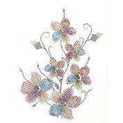 Rhinestone Iron on Transfer Hot Fix Motif Crystal Fashion Design Flower Vine Colour Mix 3 Sheets 9.8*34cm