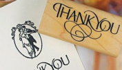 Wood Rubber Thank you Stamp for Craft / Scrapbooking / Card Making - Upper case