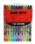 Angry Birds 12 Colour Crayon Stencil Set