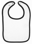 Rabbit Skins Infant Terry Snap Bib (White_Black)