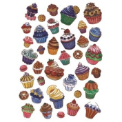 Decopatch Decoupage Paper - Soft White with Multi Colour Cupcakes and Treats 561