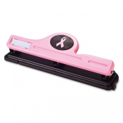 Officemate Breast Cancer Awareness 3-Hole Punch, Antimicrobial, Pink, 1 3-Hole Punch