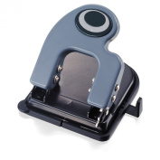 Officemate Contemporary 2-Hole Eco-Punch, 25 Sheet Capacity, Recycled, Antimicrobial, Black/Grey/Green