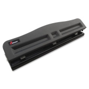 Skilcraft Light-duty Metal Hole Punch - 3 Punch Head[s] - 10 Sheet Capacity - 9/32 - Black