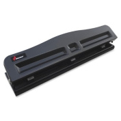 Skilcraft Light-duty Metal Hole Punch - 3 Punch Head[s] - 8 Sheet Capacity - 9/32 - Black