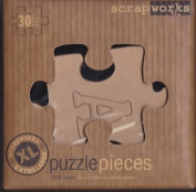 ScrapWorks CB200 - 30 Extra Large Alphabet Natural Chip Board Puzzle Pieces