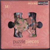 ScrapWorks Kit 54 Botanic Chip Board Puzzle Pieces + 58 Black & White Alphabet Rubz Rub-ons