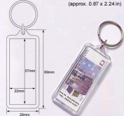 50 Pcs of Blank Clear Acrylic Keyring 22x57mm Photo Insert Craft Keychain A704