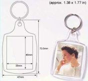 50 Pcs of Blank Clear Acrylic Keyring 35x45mm Photo Insert Craft Keychain 95457