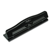 11-Sheet Commercial Adjustable Three-Hole Punch, 0.7cm Holes, Black