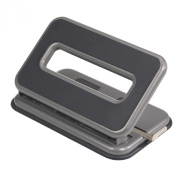 Officemate Auto-Centering 2-3 Hole Adjustable Punch, 32 Sheet Capacity, Silver and Charcoal