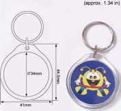 100 Pcs of Blank Clear Acrylic Round Keyring with Dia. 34mm Photo Insert Craft Keychain 9010