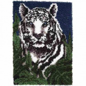 "Snow Tiger Latch Hook Kit (20"" x 27"" or 50.8 x 68.6cm) by Caron Wonder Art"