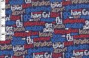 Travel Words By AOK - 100% Cotton, 110cm Wide By the Yard