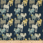 Premier Prints Woof Woof Natural/Primier Navy Fabric