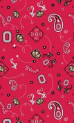 OHIO STATE COTTON FABRIC-OHIO STATE BUCKEYES COTTON FABRIC SOLD BY THE YARD-BANDANA DESIGN
