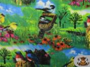 Fleece Fabric Printed * BIRDS PARADISE * / 150cm W / Sold by the yard N-488