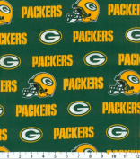 Cotton NFL Green Bay Packers Football Cotton Fabric Print By the Yard