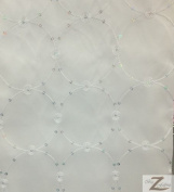 SPHERE EMBROIDERED TAFFETA FABRIC - White - 90cm x 150cm WIDTH SOLD BY THE YARD