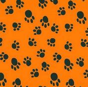 VelvaFleece Paws Black on Orange Fleece Fabric Print by the Yard