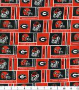 NCAA Cotton Fabric-Georgia Herringbone