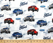 Ford Motor Company Fords Truck Trucks on White Cotton Fabric Print by the yard