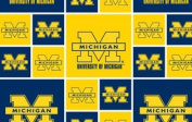 UNIVERSITY OF MICHIGAN COTTON FABRIC-100% COTTON MICHIGAN WOLVERINES COTTON FABRIC SOLD BY THE YARD