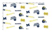 University of Michigan Fine Cotton Classic White Ground Allover