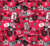 OHIO STATE COTTON FABRIC-OHIO STATE BUCKEYES COTTON FABRIC SOLD BY THE YARD-PATCHWORK DESIGN