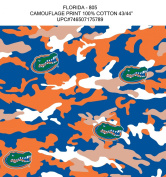FLORIDA GATORS COTTON FABRIC-UNIVERSITY OF FLORIDA COTTON FABRIC WITH CAMOUFLAGE DESIGN-NEW FOR 2013