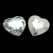 50pc Acrylic Rhinestone Cabochon, Mother's Day Craft Components Supply, Faceted, Heart, White, about 16mm wide, 16mm long, 5.2mm thick