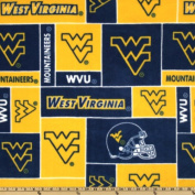 Collegiate Fleece West Virginia University Blocks Blue/Yellow Fabric