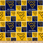 Collegiate Cotton Broadcloth West Virginia University Fabric