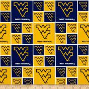 Collegiate Cotton Broadcloth West Virginia University Fabric
