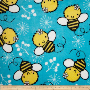 Plush Coral Fleece Tossed Bees Turquoise Fabric