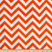 Fleece Chevron Bright Orange/White Fabric