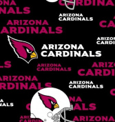 NFL Arizona Cardinals Black All-over Print 150cm Wide Football Cotton Fabric - Sold by the Yard