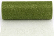 Kel-Toy Glitter Tulle Fabric, 15cm by 10-Yard, Olive Green
