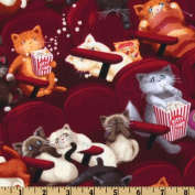Movie Theatre Cats Maroon Fabric