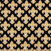 Fleur De Lis Black/Gold Fabric