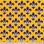Fleur De Lis Yellow/Purple Fabric