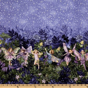 Michael Miller Night Flower Fairies Double Border Stripe Nite Blue Fabric