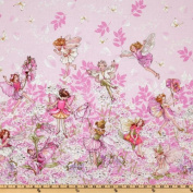 Michael Miller Petal Flower Fairies Double Border Stripe Pink Fabric